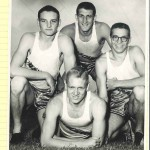 54 440 yard relay team that broke the state record. Clockwise from top Dick Orsini, Tommy Murray, Jim Millerman, and Bob Gay.